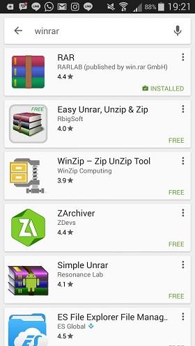 Unduh Aplikasi RAR di Hp